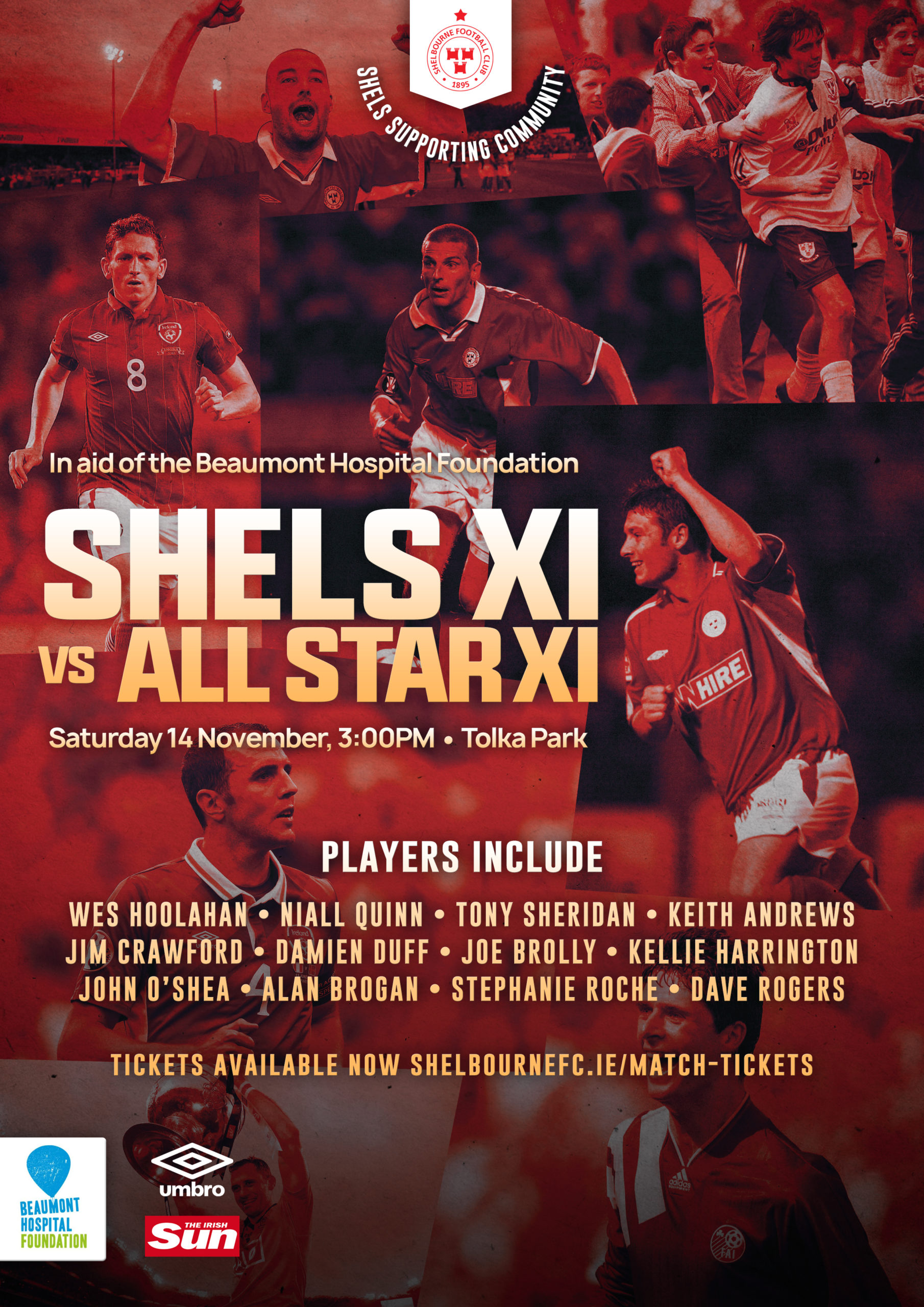 Stars of Irish sporting world to play Shels legends in aid of Beaumont Hospital