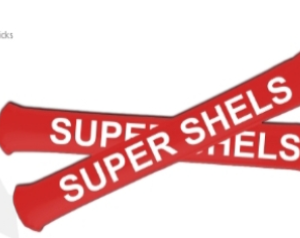Shels bangers with 'super shels' text