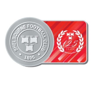 Silver and Red 125th anniversary Shels fridge magnet