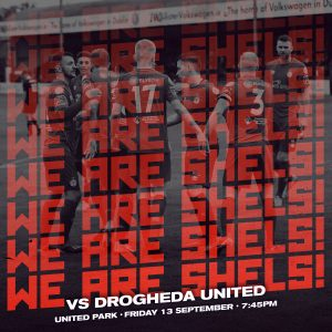 Poster for the Shelbourne and Drogheda match on Friday 13 September.