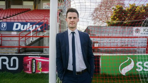 CEO David O'Connor standing in Tolka Park.