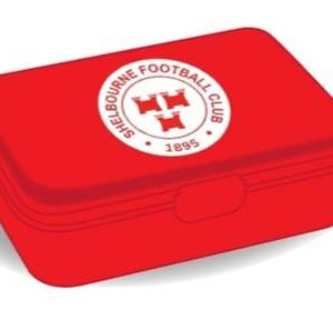 Shelbourne FC lunch box in red.
