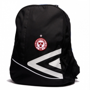 black shels backpack with Shels crest in the centre