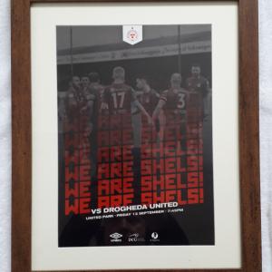 Shels framed match poster series vs Drogheda United