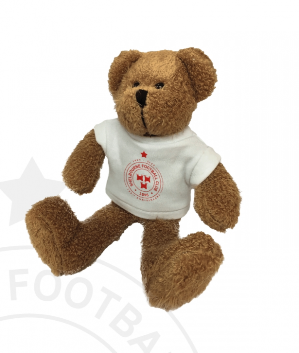 Shels teddy wearing White tshirt with Shels crest